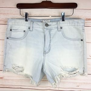 Free People Light Wash Distressed Denim Shorts 27